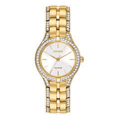 Citizen® Eco-Drive® Silhouette Womens Crystal-Accent Bracelet Watch FE2062-58A