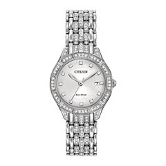 Citizen® Eco-Drive Silhouette Womens Crystal-Accent Stainless Steel Bracelet Watch EW2320-55A