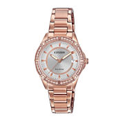 Drive from Citizen® Eco-Drive Womens Crystal-Accent Rose-Tone Stainless Steel Bracelet Watch FE6063-53A