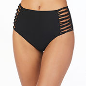 Ambrielle Solid High Waist Swimsuit Bottom