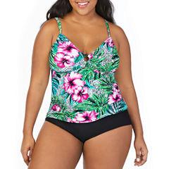 St. John's Bay ® Hibiscus Panama Palm Ring Front Tankini or Basic Pant - Plus