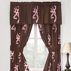 Browning Buckmark Pink Rod Pocket Lined Curtains W/Tiebacks