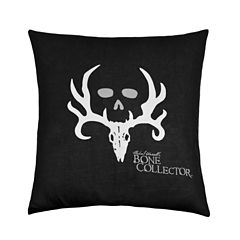 Bone Collector Black Square Throw Pillow