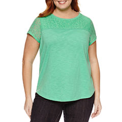 Liz Claiborne Short Sleeve Crew Neck T-Shirt-Plus