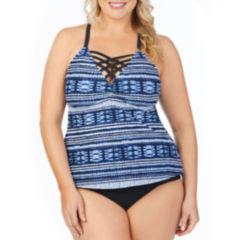Boutique + Shibori Tankini w/Criss Cross Front Swimsuit Top-Plus