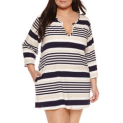 Porto Cruz Stripe Jersey Swimsuit Cover-Up Dress-Plus