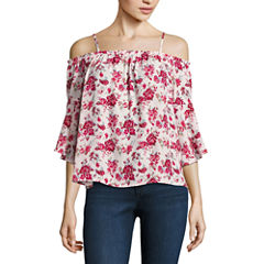 Almost Famous 3/4 Sleeve Blouse-Juniors