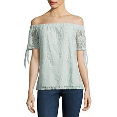 Society Girl Short Sleeve Lace Blouse-Juniors