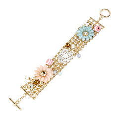 Mixit™ Gold-Tone Mixed Pastel Flower Chain Bracelet