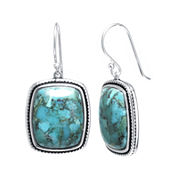 Enhanced Turquoise Sterling Silver Rectangular Drop Earrings