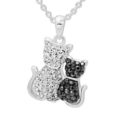 Crystal Cats Sterling Silver Pendant Necklace