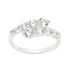 Sparkle Allure Womens Clear Diamond Accent Silver Over Brass Bypass Ring
