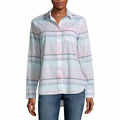 a.n.a Long Sleeve Y Neck Woven Blouse-Talls