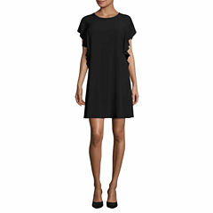 Worthington Short Sleeve Shift Dress-Talls