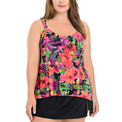 Le Cove Floral Tankini Swimsuit Top or Swim Skirt-Plus