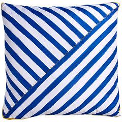 Scribble Diagnol Stripe Blue Throw Pillow