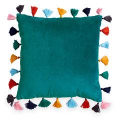Scribble Velvet Throw Pillow With Tassels-Teal