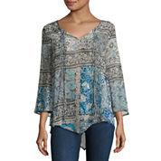 One World Apparel 3/4 Sleeve Solid Peasant Top