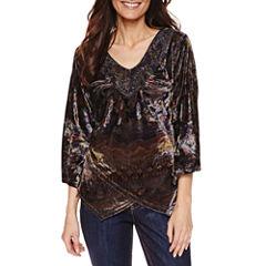 Unity World Wear Long Sleeve V Neck T-Shirt-Womens Petites