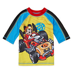 Disney Boys Mickey Mouse Solid Rash Guard-Big Kid