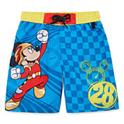 Disney Boys Mickey Mouse Solid Trunks-Big Kid