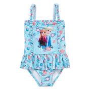 Disney Girls Disney Princess Solid One Piece Swimsuit-Big Kid