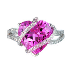 Lab-Created Pink & White Sapphire Heart Crossover Ring in Sterling Silver