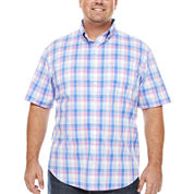 IZOD Short Sleeve Checked Woven Shirt- Big & Tall