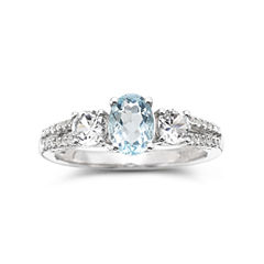 Simulated Aquamarine & Lab-Created White Sapphire Sterling Silver 3-Stone Ring