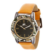 Mossy Oak® Mens Camo Bezel Orange Strap Watch