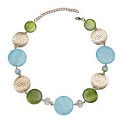 Mixit™ Blue and Green Shell Circle Necklace