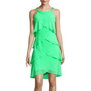 SL Fashions Sleeveless Embellished Tiered Shift Dress