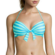 Arizona Stripe Pushup Halter Swim Top - Juniors
