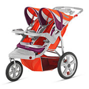 Schwinn® Flight Swivel Double Jogging Stroller - Poppy Red and Maroon