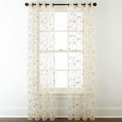 Royal Velvet Plaza Embroidered Sheer Grommet Top Curtain Panel