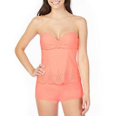 Arizona Lasercut Bandeau Swimsuit Top or Boyshort Bottom-Juniors
