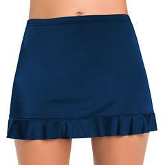St. John's Bay Marine Blue Ruffle Hem Skirt