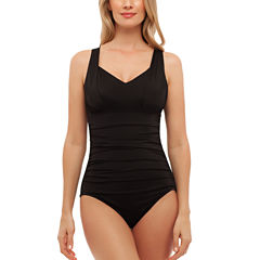 St. John's Bay Solid Allover Control Shirred One Piece