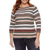 Liz Claiborne Elbow Sleeve Boat Neck Pullover Sweater-Plus