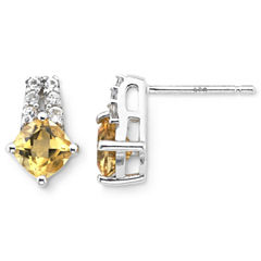 Sterling Silver Genuine Citrine & Lab-Created White Sapphire Earrings
