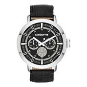 Claiborne® Mens Black Leather Strap Multifunction Watch