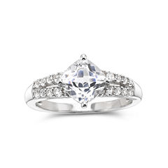 Lab-Created White Sapphire Ring Sterling Silver