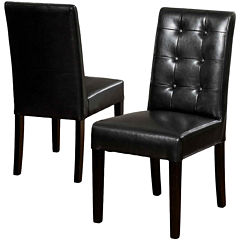 Whitley Set of 2 Tufted Bonded Leather Parsons Dining Chairs