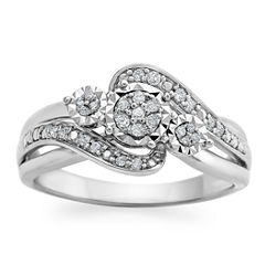 Womens 1/7 CT. T.W. Genuine White Diamond Sterling Silver Cocktail Ring