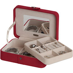 Mele & Co. Giana Red Plush Fabric Jewelry Box w/ Lift-Out Tray