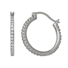 Silver Treasures White Diamond Accent Sterling Silver Hoop Earrings