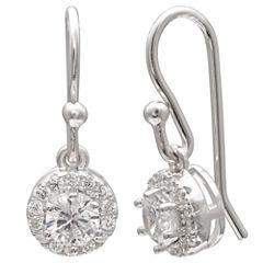 Silver Treasures White Sterling Silver Drop Earrings