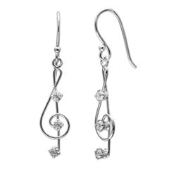 Silver Treasures White Diamond Accent Sterling Silver Drop Earrings