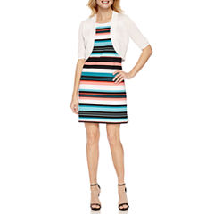 Worthington Elbow Sleeve Bolero Shrug with Sleeveless Striped Shift