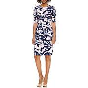 London Style Elbow Sleeve Sheath Dress
